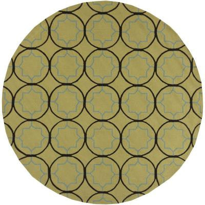 Mount Morrison Olive 8 ft. x 8 ft. Round Indoor/Outdoor Area Rug