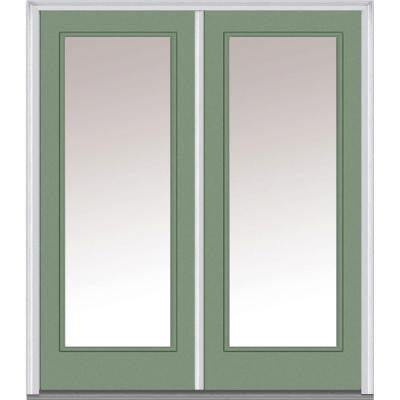 64 in. x 80 in. Classic Clear Glass Full Lite Painted Builder's Choice Steel Double Prehung Front Door