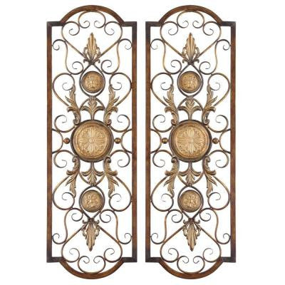 42 in. x 14 in. Antiqued Gold Iron Wall Art