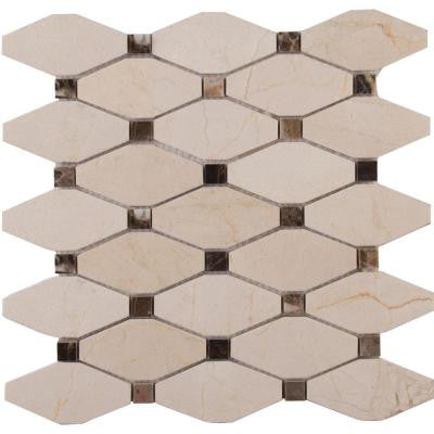 Valencia Blend Elongated Octagon 12 in. x 12 in. x 10 mm Polished Marble Mesh-Mounted Mosaic Tile (10 sq. ft. / case)