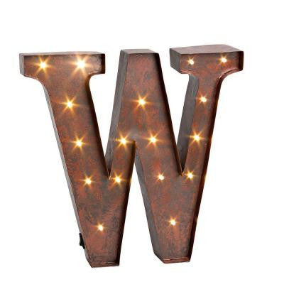 "12 in. H ""W"" Rustic Brown Metal LED Lighted Letter"