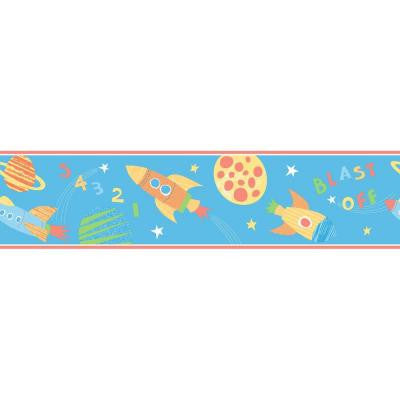 5.5 in. H Blast Off Space Turquoise Border