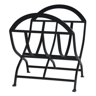 1.8 ft. Decorative Black Wrought Iron Firewood Rack