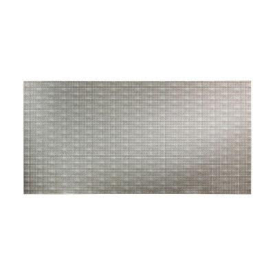 Square 96 in. x 48 in. Decorative Wall Panel in Crosshatch Silver
