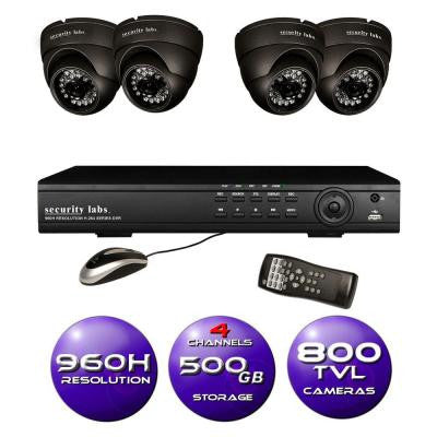 4-Channel 960H Surveillance System with 500GB HDD and (4) 800 TVL Dome Cameras