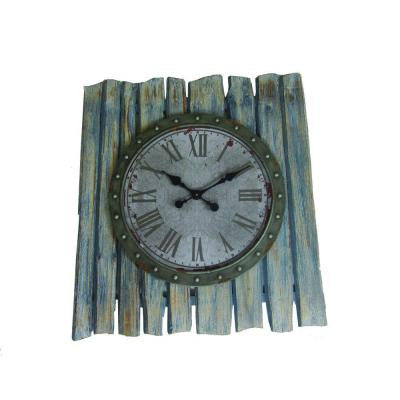 35 in. x 32 in. Square Iron Wall Clock in Light Blue and Gray Frame