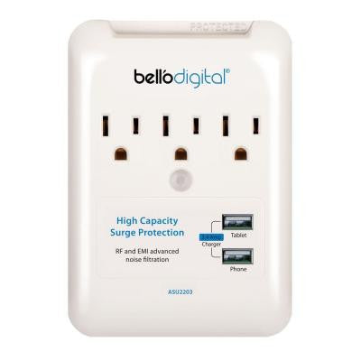 3-Outlet Wall Tap Surge Protector/USB