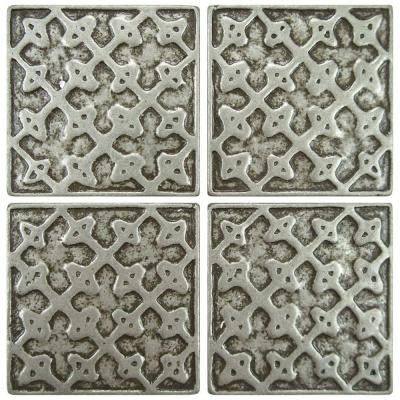 Contempo Lattice Pewter 2 in. x 2 in. Tozetto Medallion Floor and Wall Insert Tile (4-Pack)