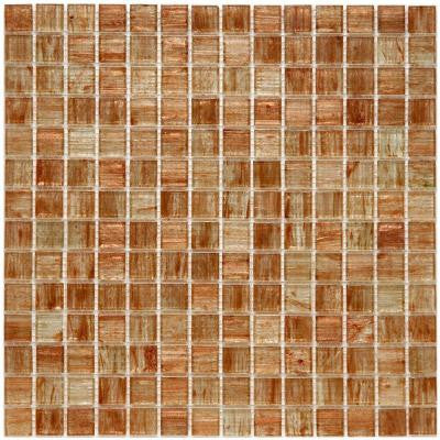 Coppa Tan Gold 12 in. x 12 in. x 4 mm Glass Mosaic Wall Tile