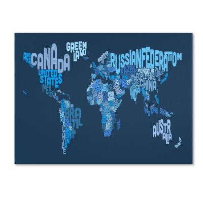 16 in. x 24 in. World Text Map 2 Canvas Art