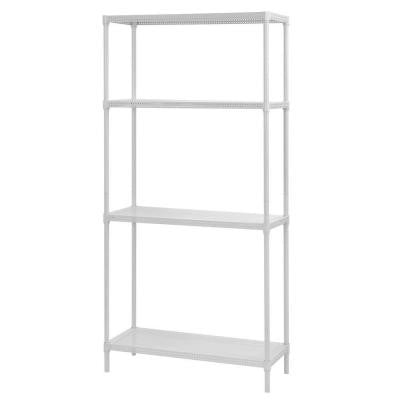 71 in. H x 35 in. W x 14 in. D 4-Tier Perforated Steel Shelving in White