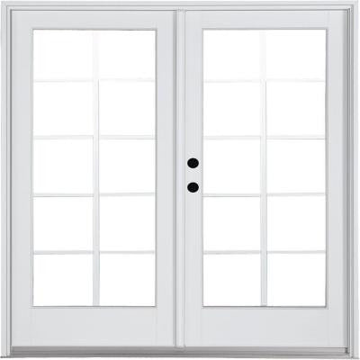 71-1/4 in. x 79-1/2 in. Composite White Right-Hand Inswing Hinged Patio Door with 10 Lite External Grilles