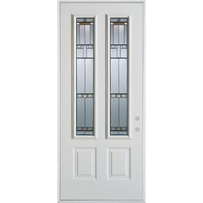 36 in. x 80 in. Architectural 2 Lite 2-Panel Prefinished White Steel Prehung Front Door
