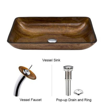 Rectangular Glass Vessel Sink in Amber Sunset with Waterfall Faucet Set in Chrome