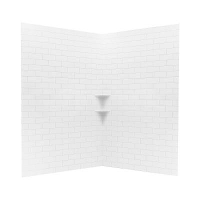 48 in. x 48 in. x 72 in. 3-piece Subway Tile Easy Up Adhesive Neo Angle Shower Wall in White