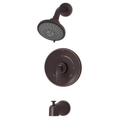 Elm 1-Handle Tub and Shower Faucet Trim in Seasoned Bronze (Valve Not Included)