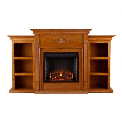 Jackson 70.25 in. Freestanding Media Electric Fireplace with Bookcases in Glazed Pine