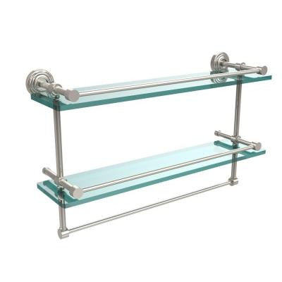 22 in. W Gallery Double Glass Shelf with Towel Bar in Polished Nickel