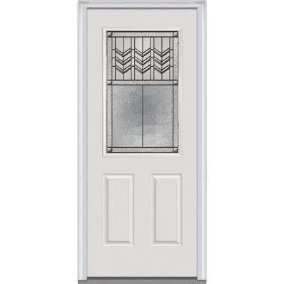 34 in. x 80 in. Prairie Bevel Decorative Glass 1/2 Lite 2-Panel Primed White Majestic Steel Prehung Front Door