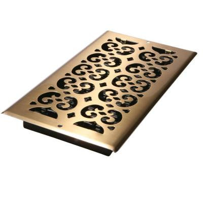 6 in. x 12 in. Antique Brass-Plated Steel Scroll Wall and Ceiling Register