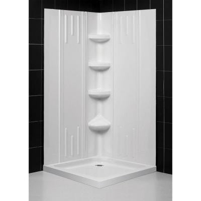 QWALL-2 29-7/8 to 40-1/2 in. x 29-7/8 to 40-1/2 in. x 72-7/8 in. Standard Fit Backwall Kit in White