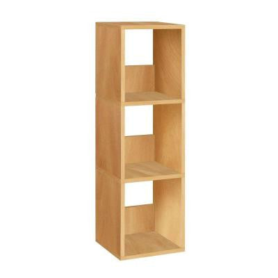 Trio 3-Shelf Narrow Bookcase and Eco Storage Shelf in Natural