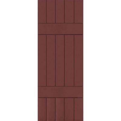 18 in. x 55 in. Exterior Real Wood Sapele Mahogany Board and Batten Shutters Pair Cottage Red