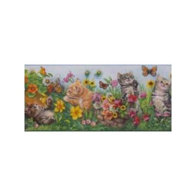 9 in. Kids Kittens and Flowers Wallcovering Border