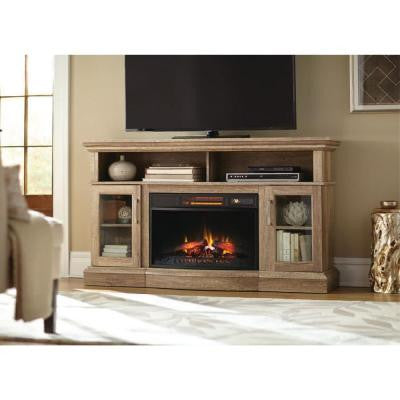Hawkings Point 59.5 in. Rustic Media Console Electric Fireplace in Pine