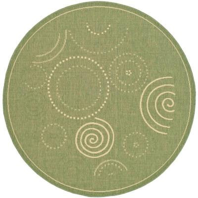 Courtyard Olive/Natural 5 ft. 3 in. x 5 ft. 3 in. Round Indoor/Outdoor Area Rug