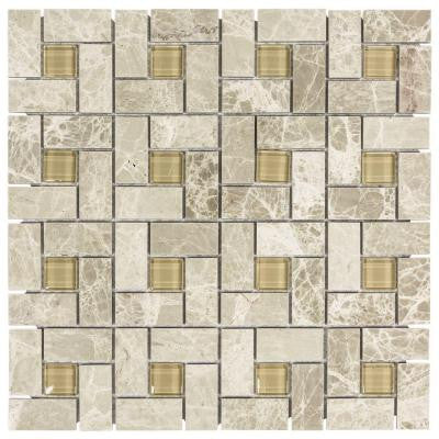 Pearl Drops 11.75 in. x 12 in. x 8 mm Glass/Beige Marble Mosaic Wall Tile