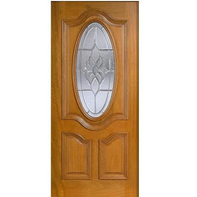 30 in. x 80 in. Mahogany Type 3/4 Oval Glass Prefinished Golden Oak Beveled Zinc Solid Wood Front Door Slab