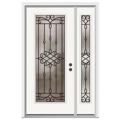 36 in. x 80 in. Sanibel Full Lite Primed Premium Steel Prehung Front Door with Right Hand Sidelite