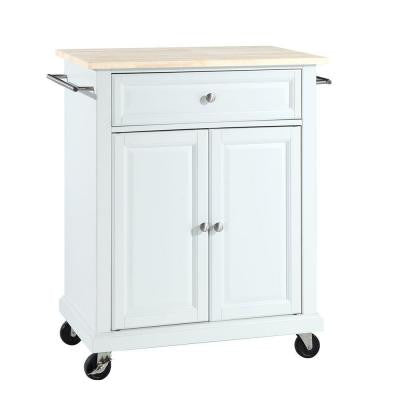28-1/4 in. W Natural Wood Top Mobile Kitchen Island Cart in White