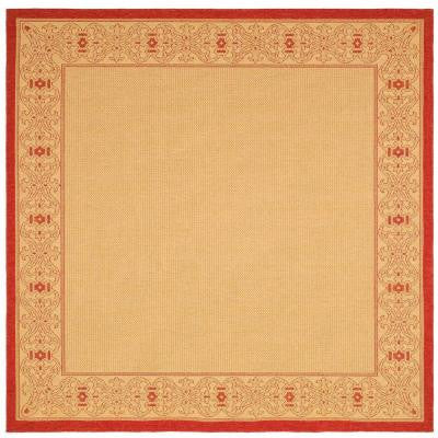 Courtyard Natural/Red 6 ft. 7 in. x 6 ft. 7 in. Square Indoor/Outdoor Area Rug