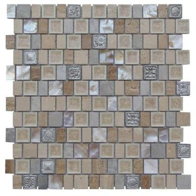 Charm II Gold Cream 12 in. x 12 in. x 8 mm Glass and Stone Mosaic Tile