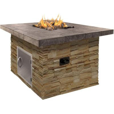 48 in. Natural Stone Propane Gas Fire Pit in Brown with Log Set and Lava Rocks