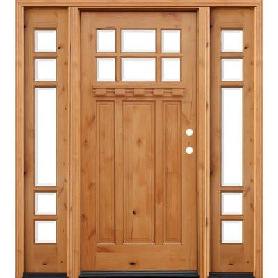 70 in. x 80 in. Craftsman Rustic 6 Lite Stained Knotty Alder Wood Prehung Front Door w/ 14 in. Sidelites & Dentil Shelf