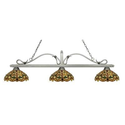 Landini 3-Light Antique Silver Island Light with Tiffany Glass Shades
