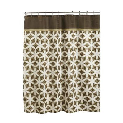 Oxford Weave Textured 70 in. W x 72 in. L Shower Curtain with Metal Roller Rings in Harajuku Chocolate