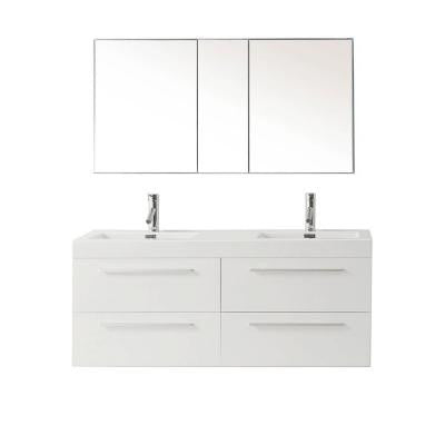 Finley 53-7/8 in. Double Basin Vanity in Gloss White with Poly-Marble Vanity Top in White