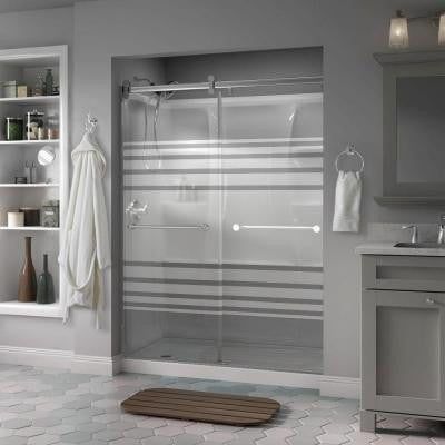 Mandara 60 in. x 71 in. Semi-Framed Contemporary Style Sliding Shower Door in Chrome with Transition Glass