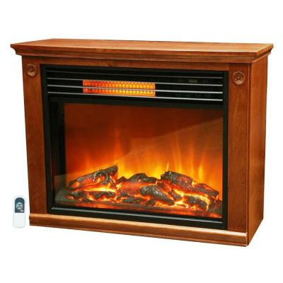 Life Zone Series 29 in. Infrared Electric Fireplace in Brown Mantle Surround with Quakerstown Oak
