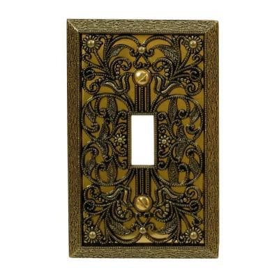 Filigree 1 Toggle Wall Plate - Antique Brass