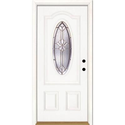 37.5 in. x 81.625 in. Medina Brass 3/4 Oval Lite Unfinished Smooth Fiberglass Prehung Front Door