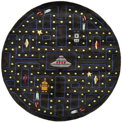 Caprice Arcade Black 5 ft. x 5 ft. Indoor Round Area Rug