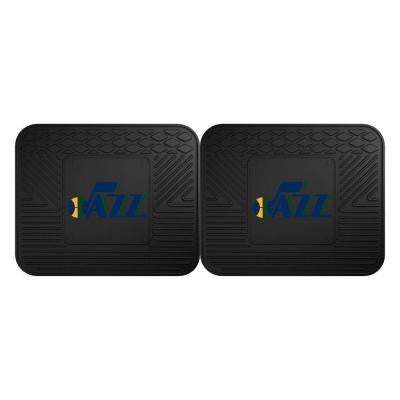 NBA Utah Jazz Black Heavy Duty 2-Piece 14 in. x 17 in. Vinyl Utility Mat