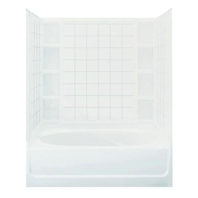 Ensemble 36 in. x 60 in. x 72 in. Bath and Shower Kit with Left-Hand Drain in White