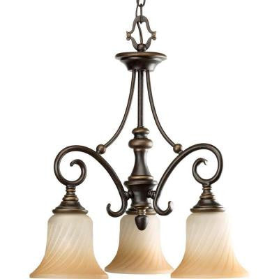 Kensington Collection 3-Light Forged Bronze Chandelier