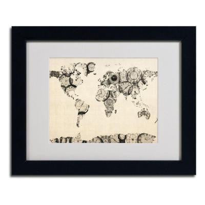 11 in. x 14 in. Old Clocks World Map Matted Framed Art